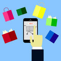 Online shopping concept,hand buying with cellphone,