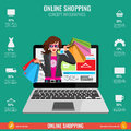 Online shopping concept infographics in vector. Woman from laptop Royalty Free Stock Photo