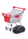 Online shopping e commerce and concept cart and computer mouse Royalty Free Stock Photo