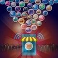 Online shopping eshop. Social media payments