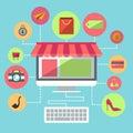 Online Shopping Flat Design Item Royalty Free Stock Photo