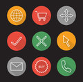 Online shopping flat linear long shadow icons set Royalty Free Stock Photo