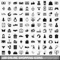 100 online shopping icons set, simple style