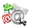 Online shopping illustration concept over a white background Royalty Free Stock Images