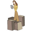 Online shopping an image of a woman Royalty Free Stock Images