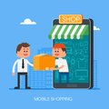 Online shopping on internet using mobile smartphone. Fast delivery concept vector illustration in flat style design Royalty Free Stock Photo