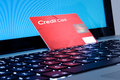 Online shopping, laptop and credit card close up Stock Photography