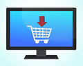 Online shopping monitor illustration design Royalty Free Stock Image