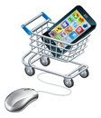 Online shopping for phone on the internet mobile phones or apps concept of a computer mouse connected to a trolley or cart Stock Images