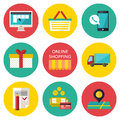 Online shopping process concept. Vector illustration of business web commerce Royalty Free Stock Photo