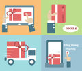 Online shopping process vector cartoon business Royalty Free Stock Image