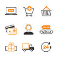 Online shopping simple vector icon set Royalty Free Stock Photo