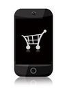 Online shopping smartphone with cart isolated over white background Stock Photography