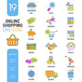 Online Shopping Thin Lines Color Web Icon Set Royalty Free Stock Photo