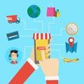 Online shopping vector flat design illustration. Royalty Free Stock Photo