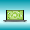 Online shopping vector illustration of a laptop showing icons Royalty Free Stock Image
