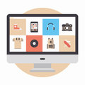 Online store flat illustration design modern vector concept of designer portfolio website with various icons or shopping web for Royalty Free Stock Image