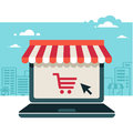 Online Store. Laptop With Awning