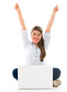 Online success happy woman enjoying her isolated over white background Royalty Free Stock Photography