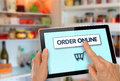 Online Supermarket Shopping Tablet with Hands Royalty Free Stock Photo