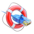 Online support concept d with ethernet cable and the lifebuoy Royalty Free Stock Photo