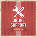 Online support concept on red in flat design with icon of crossed screwdriver and wrench and slogan striped background vintage Royalty Free Stock Image