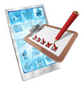 Online survey phone app clipboard concept Royalty Free Stock Photos