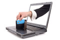 Online theft over the internet concept with a hand poping out of the screen to steal a credit card isolated on a white background Royalty Free Stock Images