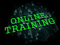 Online training business educational concept the word in light green color on dark digital background Stock Images