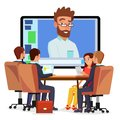 Online Video Conference Vector. Man And Chat. Director Communicates With Staff. Webinar. Business Meeting, Consultation