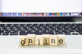 Online wording stack on laptop closeup network and technology concept and ideas Stock Photography