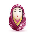 Onna Daruma Japanese doll in a purple kimono with a pattern of cherry. Vector illustration on white background.