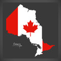 Ontario Canada map with Canadian national flag illustration