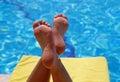Ontspanning bij zwembad Royalty-vrije Stock Fotografie