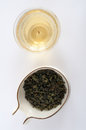 Oolong tea leaves with a pot green chinese Stock Image