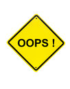 Oops error yellow sign on white background Stock Images
