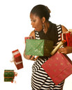 Oops!  falling christmas presents Stock Photo