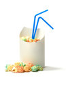 Oops ii fresh popcorn in a container with drinking straws funny concept image for poor customer service mistake error etc copy Royalty Free Stock Image