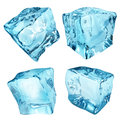 Opaque ice cubes set of four in light blue colors Stock Image