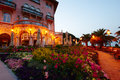 Opatija gardens at dawn garden and restaurant in front of old mediterranean villa in Royalty Free Stock Photos