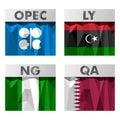 Opec countries flags of belonging to libya nigeria qatar Stock Image