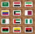 Opec countries flags illustration of of members on white tablet on rusty wooden background Stock Photo