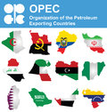 Opec countries flags of the organization of the petroleum exporting overlaid on outline map isolated on white background Royalty Free Stock Images