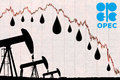 Opec logo oil drops and silhouette industrial oil pump jack with devaluation graph Stock Images