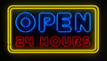 Open 24 Hours Sign Stock Photo