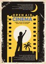 Open air cinema vintage poster vector design Royalty Free Stock Photo