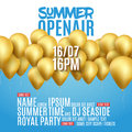 Open Air Festival Party Poster design. Flyer or brochure template for Summer with golden balloons Royalty Free Stock Photo