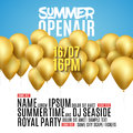 Open Air Festival Party Poster design. Flyer or poster template for Summer Open Air with golden balloons Royalty Free Stock Photo