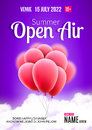 Open Air Festival Party Poster design. Flyer or poster template for Summer Open Air with red balloons Royalty Free Stock Photo