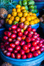 Open air fruit market in the village Royalty Free Stock Photo